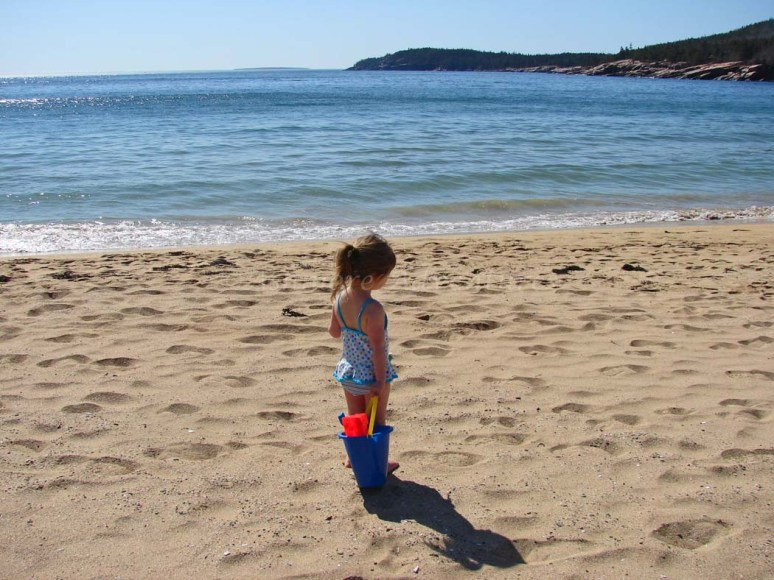 3/22/12 - At the beach, in March, in Maine, in her bathing suit!