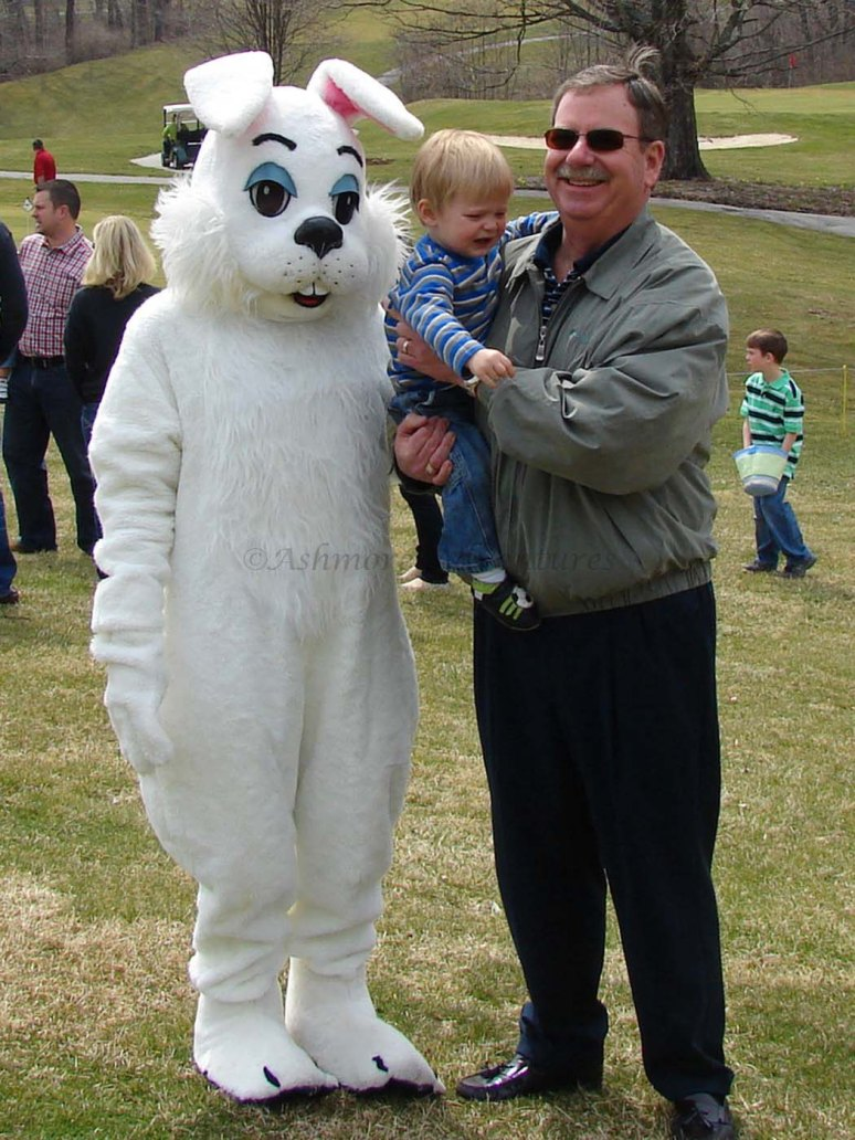 3/30/13 Desmond not going for the Easter Bunny, even with Uncle Dan.