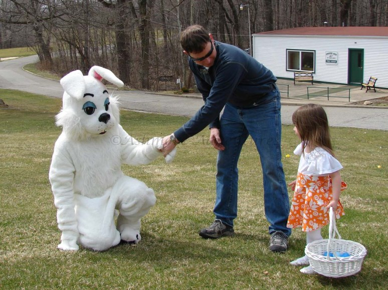 3/30/13 Daddy shakes the bunny's hand...