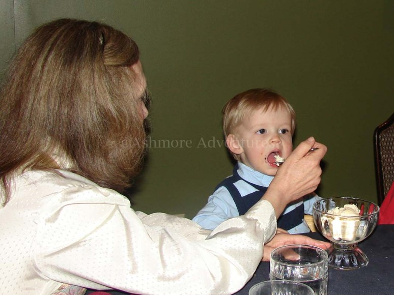 3/30/13 Mom and Desmond having dessert
