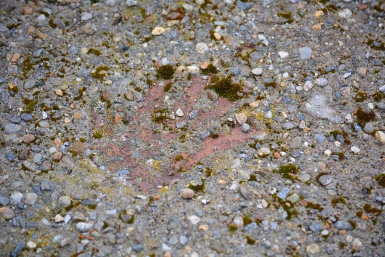 Hand print in the concrete