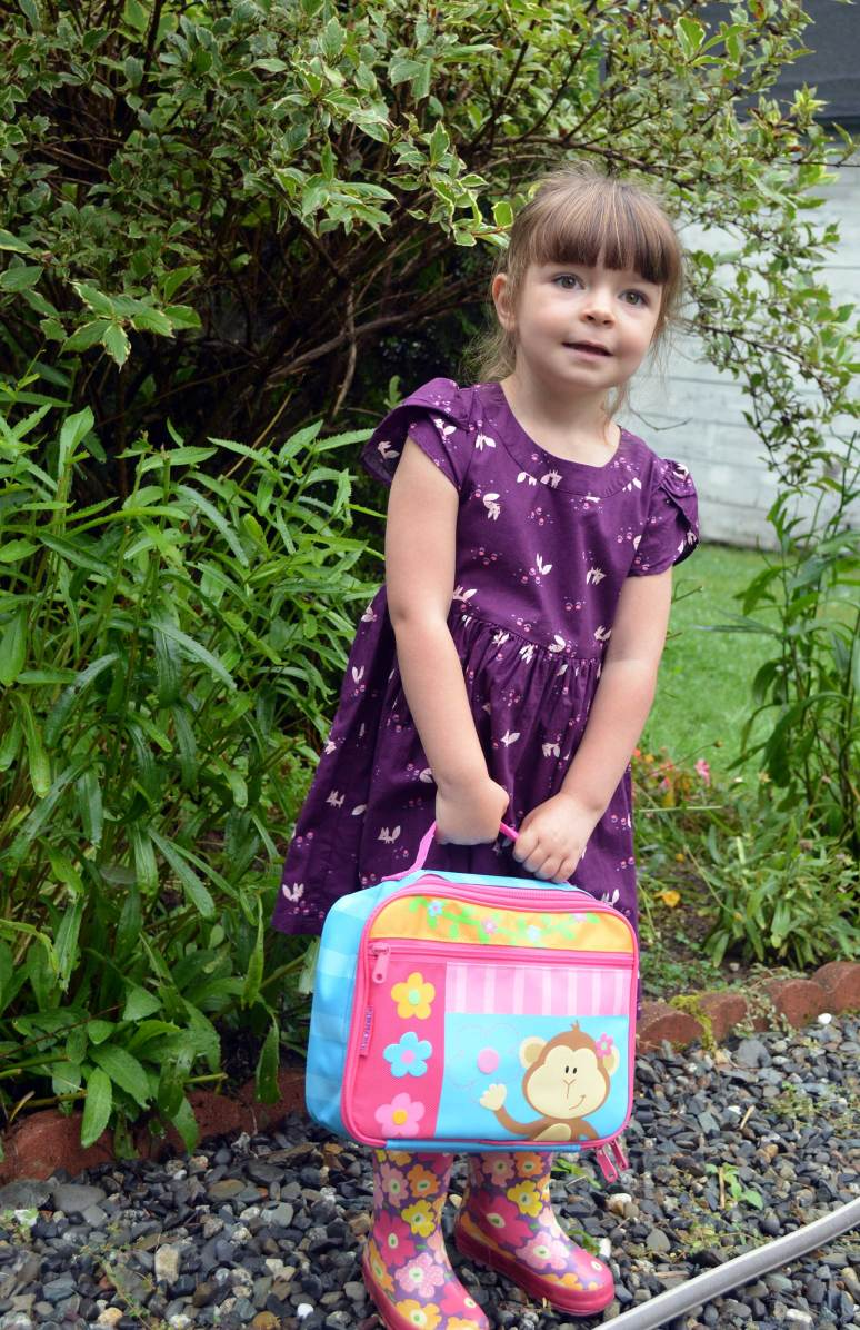 First day of school with her new lunch box.