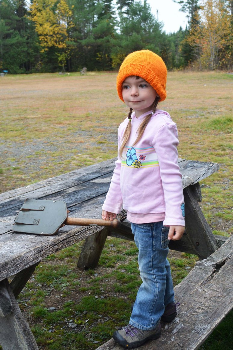 10/12/13 Ready for action in her orange hat. Columbus Day weekend camping in Northern Maine.