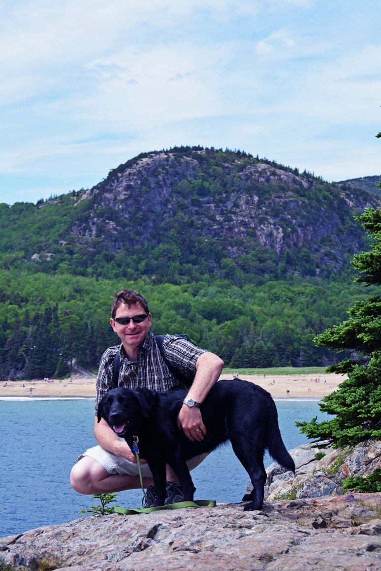 6/16/13 Artie and Katie on Great Head (Sand Beach and the Beehive behind), Acadia National Park