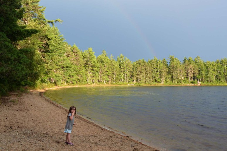 7/20/13 Camping on Deer Lake (just south of Nicatous Lake) watching a thunder storm (see the rainbow?)
