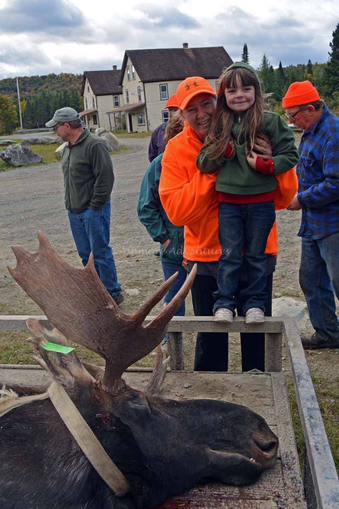 9/23/14 Posing with Grandpa's moose with Aunt Kelly. Kokadjo, ME.